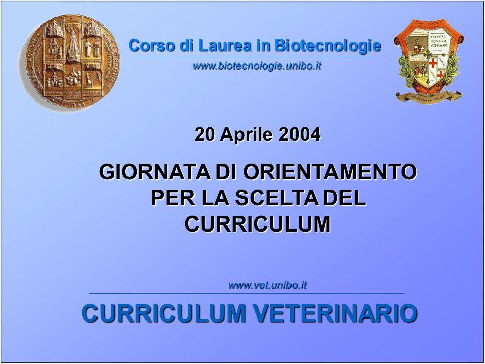 Corso di Laurea in Biotecnologie 20 Aprile 2004 GIORNATA DI ORIENTAMENTO PER LA SCELTA DEL CURRICULUM CURRICULUM VETERINARIO www.biotecnologie.unibo.it www.vet.unibo.it