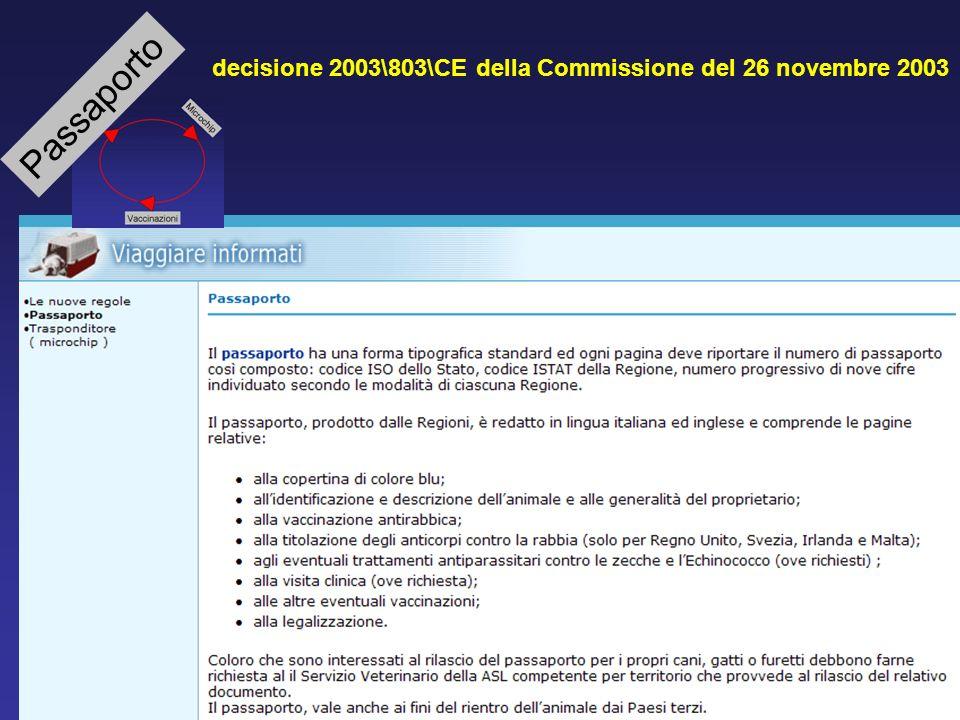 Passaporto decisione 2003\803\CE della Commissione del 26 novembre 2003