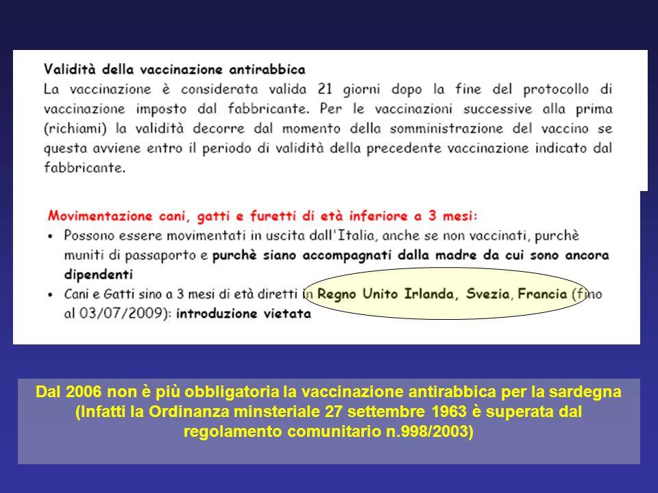 Dal 2006 non è più obbligatoria la vaccinazione antirabbica per la sardegna (Infatti la Ordinanza minsteriale 27 settembre 1963 è superata dal regolam