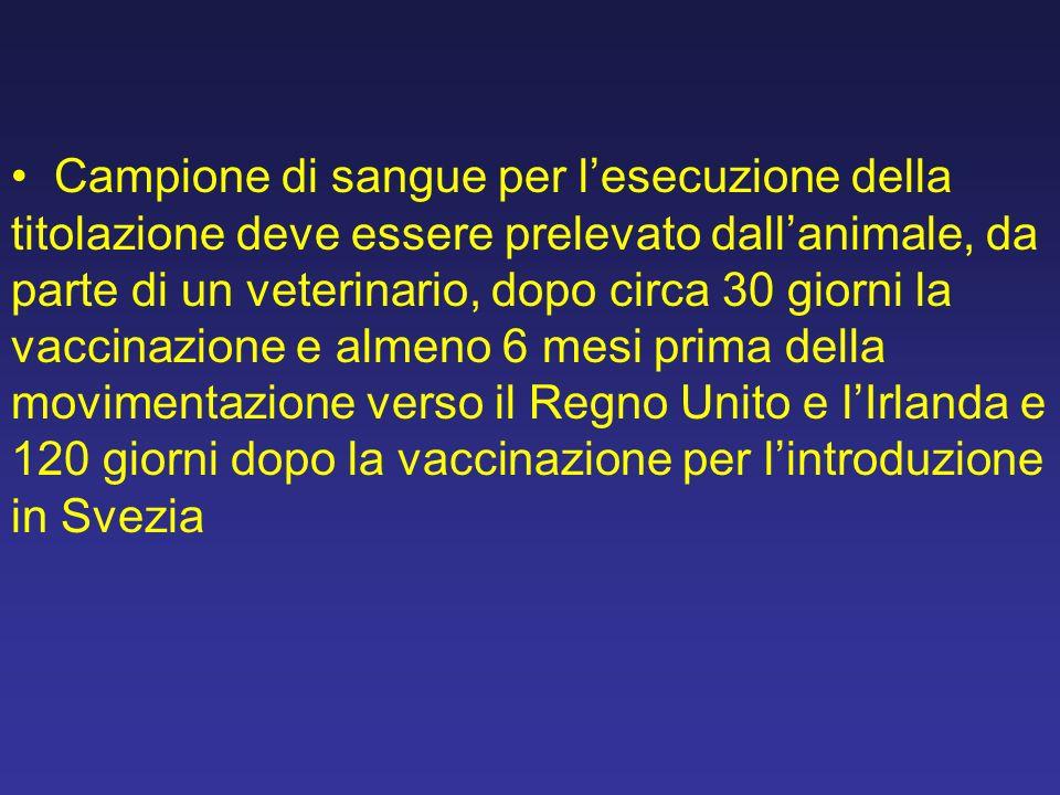 Campione di sangue per lesecuzione della titolazione deve essere prelevato dallanimale, da parte di un veterinario, dopo circa 30 giorni la vaccinazio