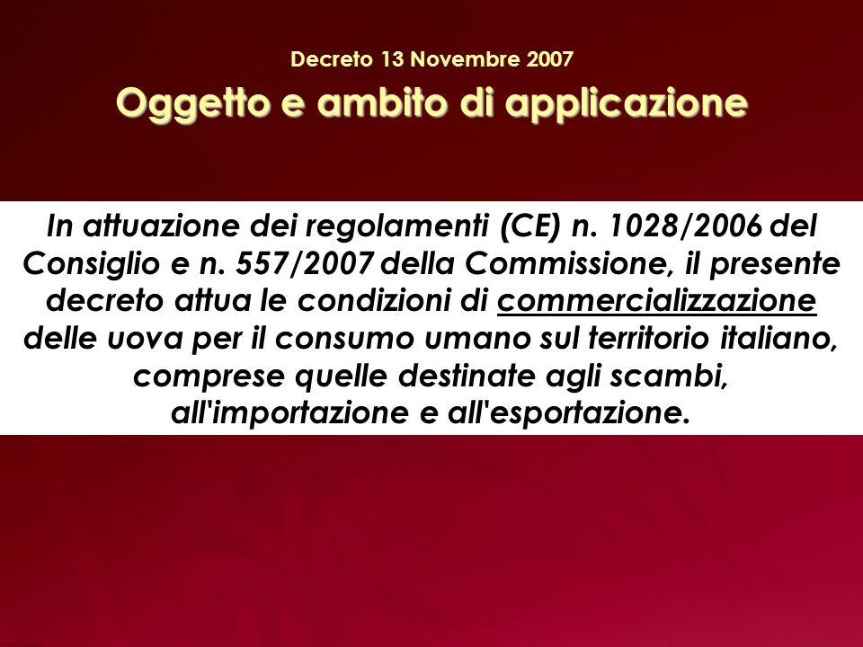 Oggetto e ambito di applicazione Decreto 13 Novembre 2007 Oggetto e ambito di applicazione In attuazione dei regolamenti (CE) n.