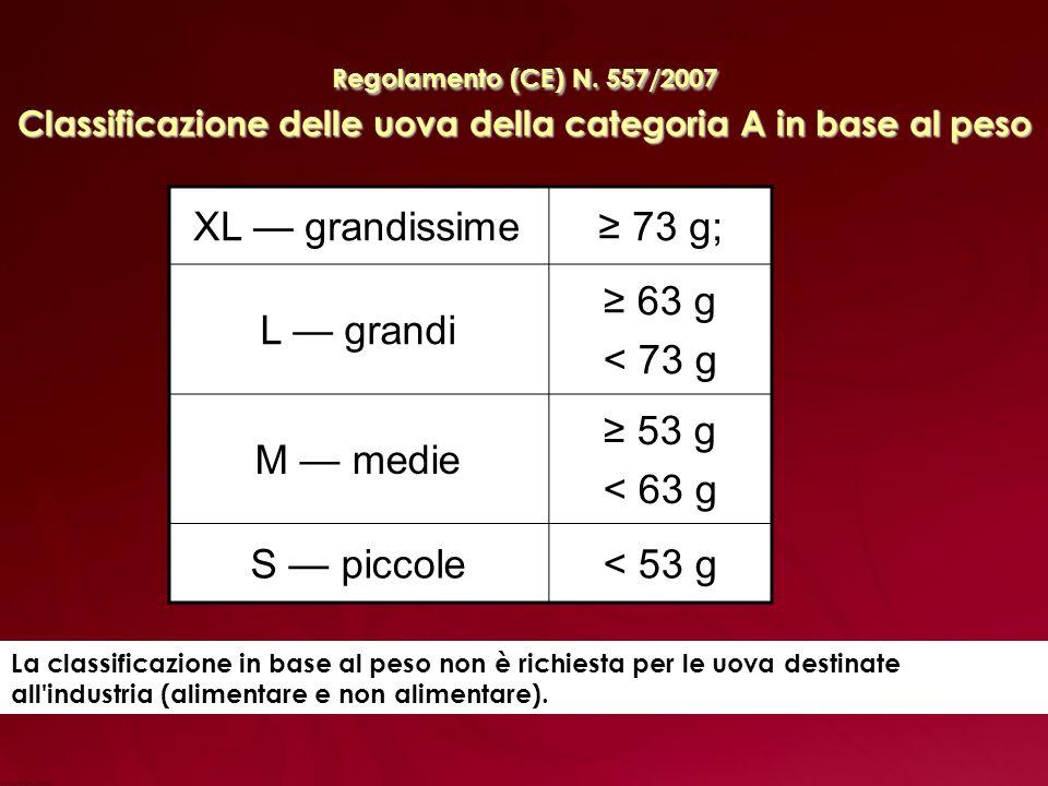 XL grandissime 73 g; L grandi 63 g < 73 g M medie 53 g < 63 g S piccole< 53 g Regolamento (CE) N.