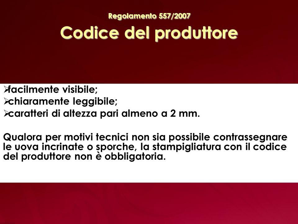 Regolamento 557/2007 Codice del produttore facilmente visibile; chiaramente leggibile; caratteri di altezza pari almeno a 2 mm.