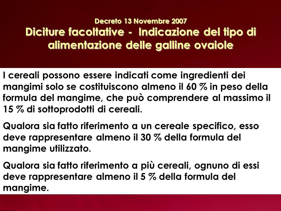 Decreto 13 Novembre 2007 Diciture facoltative - Indicazione del tipo di alimentazione delle galline ovaiole I cereali possono essere indicati come ingredienti dei mangimi solo se costituiscono almeno il 60 % in peso della formula del mangime, che può comprendere al massimo il 15 % di sottoprodotti di cereali.