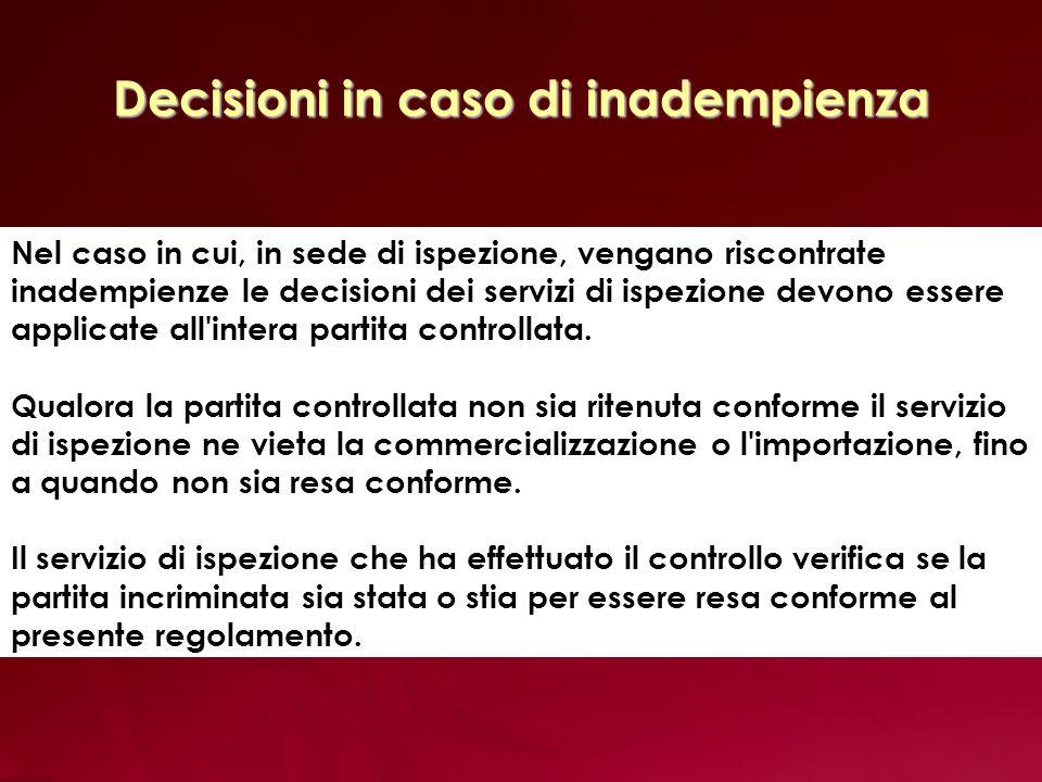 Decisioni in caso di inadempienza Nel caso in cui, in sede di ispezione, vengano riscontrate inadempienze le decisioni dei servizi di ispezione devono essere applicate all intera partita controllata.