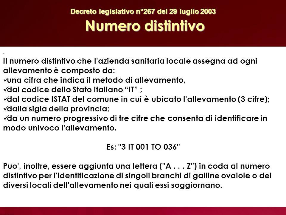Decreto legislativo n°267 del 29 luglio 2003 Numero distintivo.