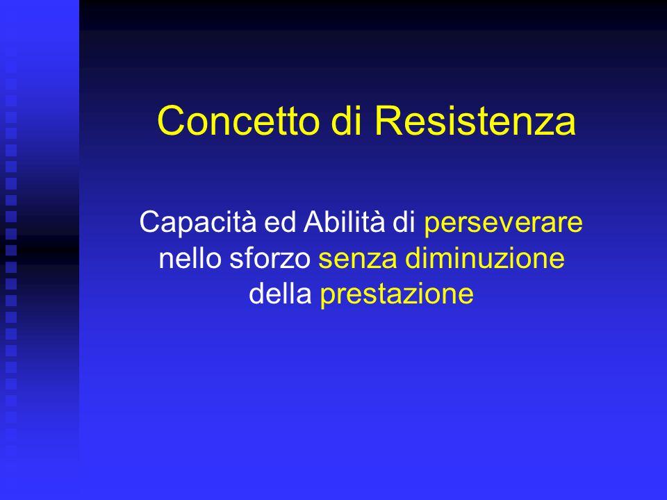 Concetto di Resistenza Capacità ed Abilità di perseverare nello sforzo senza diminuzione della prestazione