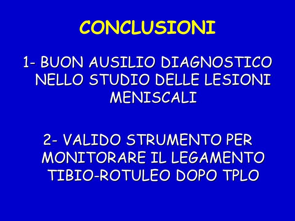 CONCLUSIONI 1- BUON AUSILIO DIAGNOSTICO NELLO STUDIO DELLE LESIONI MENISCALI 2- VALIDO STRUMENTO PER MONITORARE IL LEGAMENTO TIBIO-ROTULEO DOPO TPLO