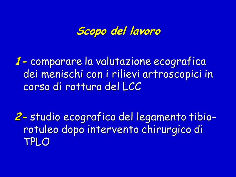 Scopo del lavoro 1- comparare la valutazione ecografica dei menischi con i rilievi artroscopici in corso di rottura del LCC 2- studio ecografico del l