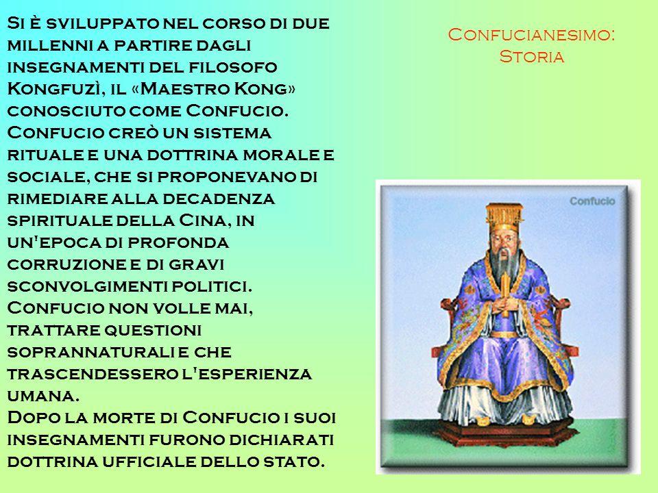 Confucianesimo: Storia Si è sviluppato nel corso di due millenni a partire dagli insegnamenti del filosofo Kongfuzì, il «Maestro Kong» conosciuto come