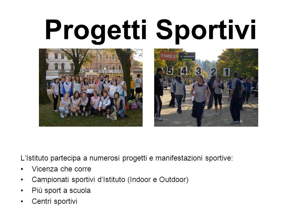 Progetti Sportivi LIstituto partecipa a numerosi progetti e manifestazioni sportive: Vicenza che corre Campionati sportivi dIstituto (Indoor e Outdoor) Più sport a scuola Centri sportivi
