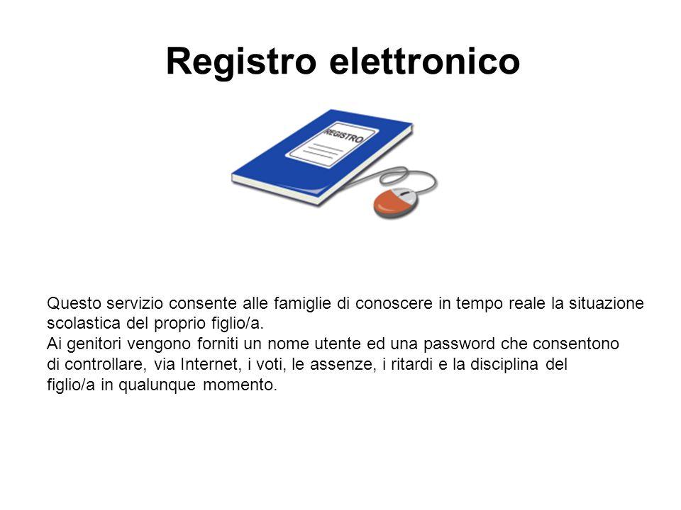 Registro elettronico Questo servizio consente alle famiglie di conoscere in tempo reale la situazione scolastica del proprio figlio/a.
