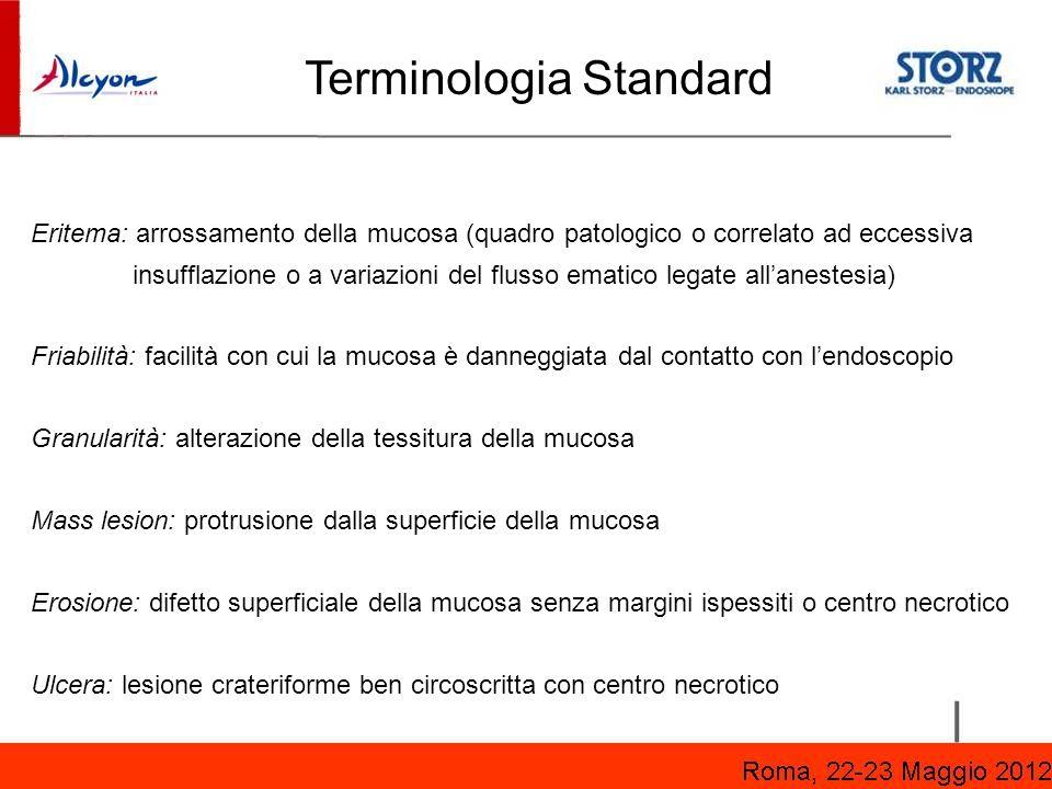 Terminologia Standard Eritema: arrossamento della mucosa (quadro patologico o correlato ad eccessiva insufflazione o a variazioni del flusso ematico l