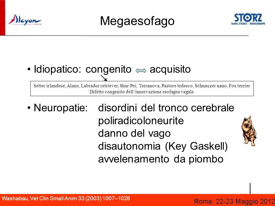 Megaesofago Idiopatico: congenito acquisito Neuropatie: disordini del tronco cerebrale poliradicoloneurite danno del vago disautonomia (Key Gaskell) a