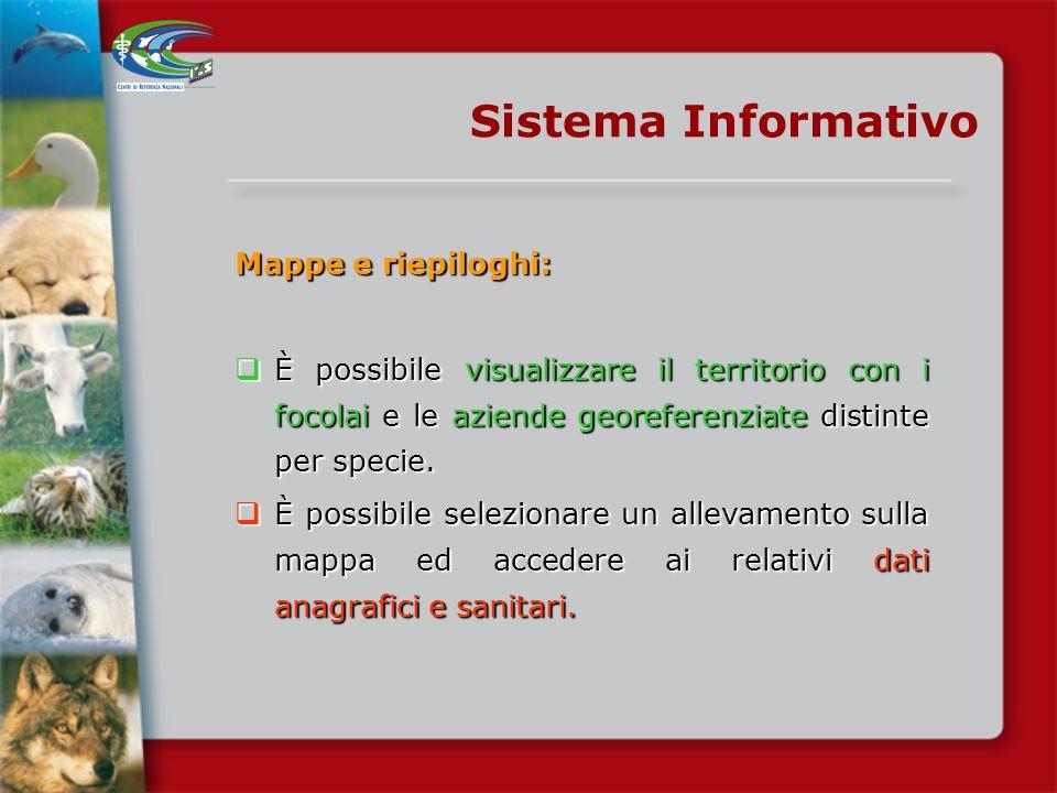Sistema Informativo Possibilità di visualizzare: i focolai attivi e spenti; i focolai attivi e spenti; le aziende e/o anche le altre strutture dintere