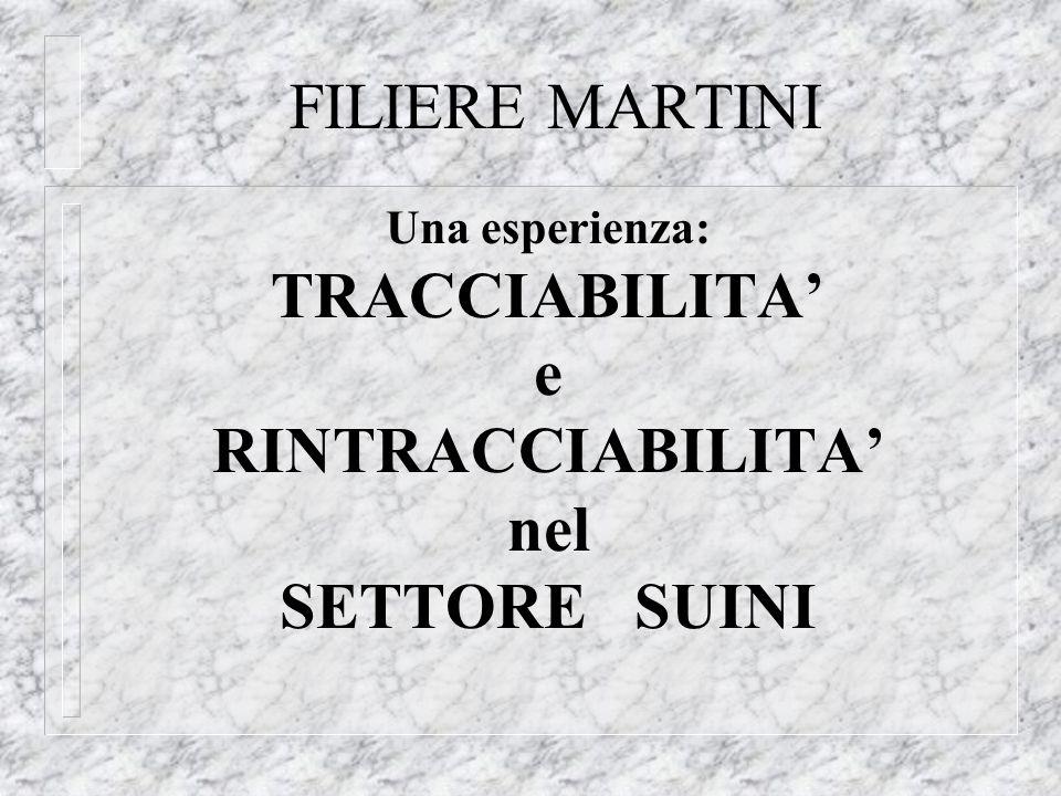 FILIERE MARTINI Una esperienza: TRACCIABILITA e RINTRACCIABILITA nel SETTORE SUINI