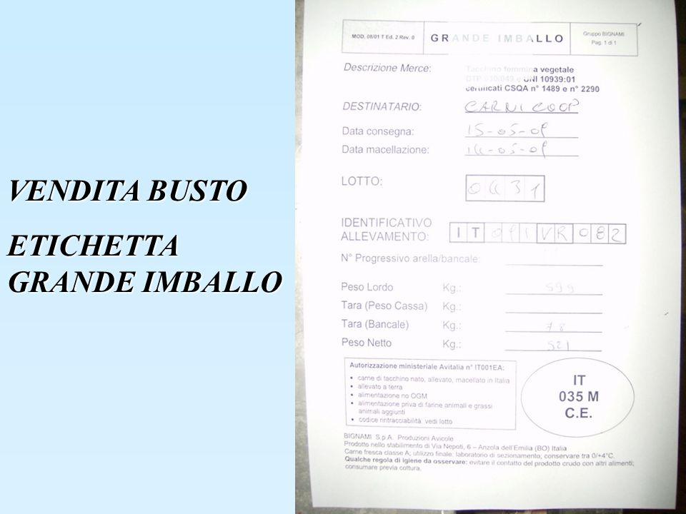 VENDITA BUSTO ETICHETTA GRANDE IMBALLO