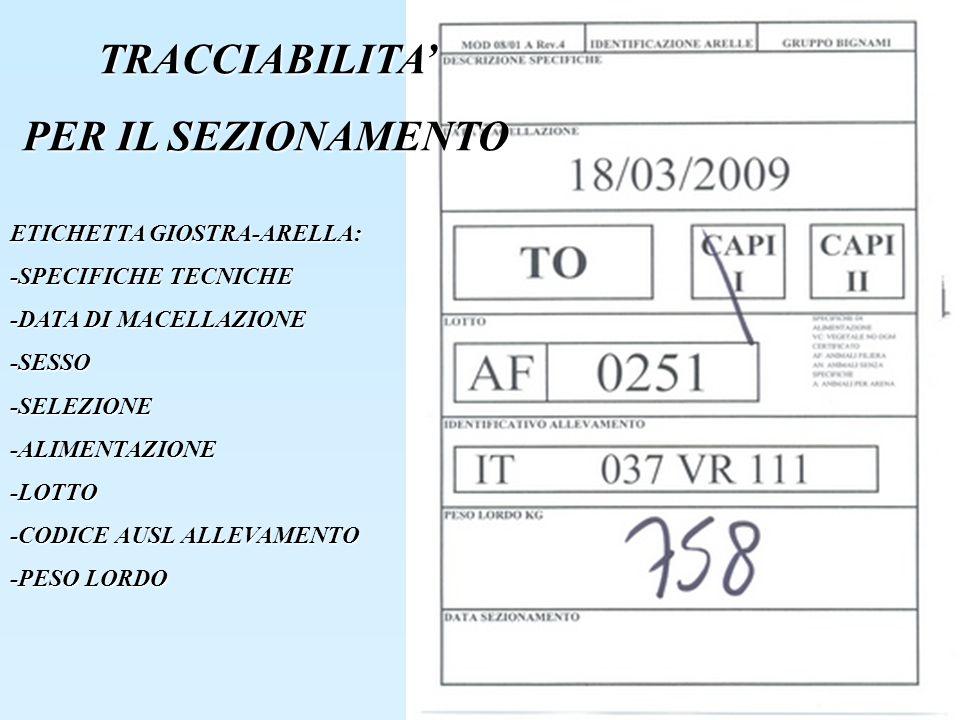 TRACCIABILITA ETICHETTA GIOSTRA-ARELLA: -SPECIFICHE TECNICHE -DATA DI MACELLAZIONE -SESSO-SELEZIONE-ALIMENTAZIONE-LOTTO -CODICE AUSL ALLEVAMENTO -PESO