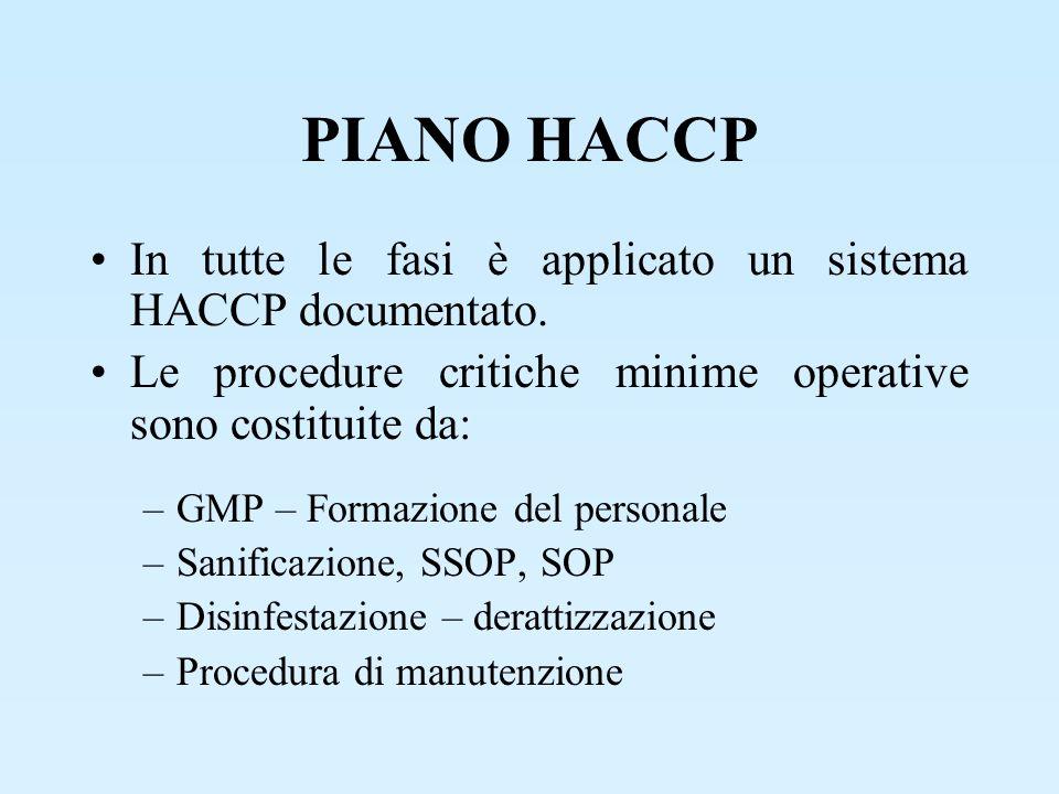 PIANO HACCP In tutte le fasi è applicato un sistema HACCP documentato. Le procedure critiche minime operative sono costituite da: –GMP – Formazione de