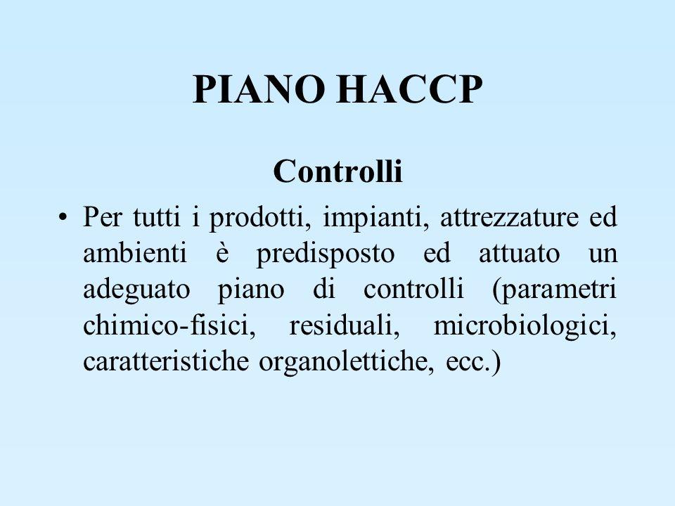 PIANO HACCP Controlli Per tutti i prodotti, impianti, attrezzature ed ambienti è predisposto ed attuato un adeguato piano di controlli (parametri chim