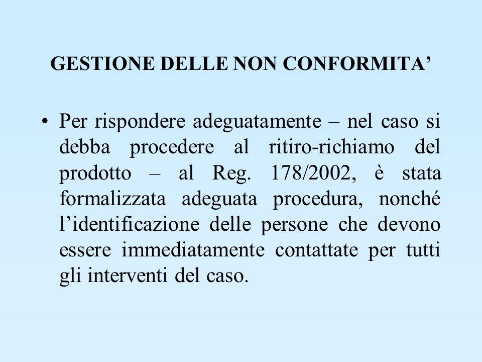 GESTIONE DELLE NON CONFORMITA Per rispondere adeguatamente – nel caso si debba procedere al ritiro-richiamo del prodotto – al Reg. 178/2002, è stata f