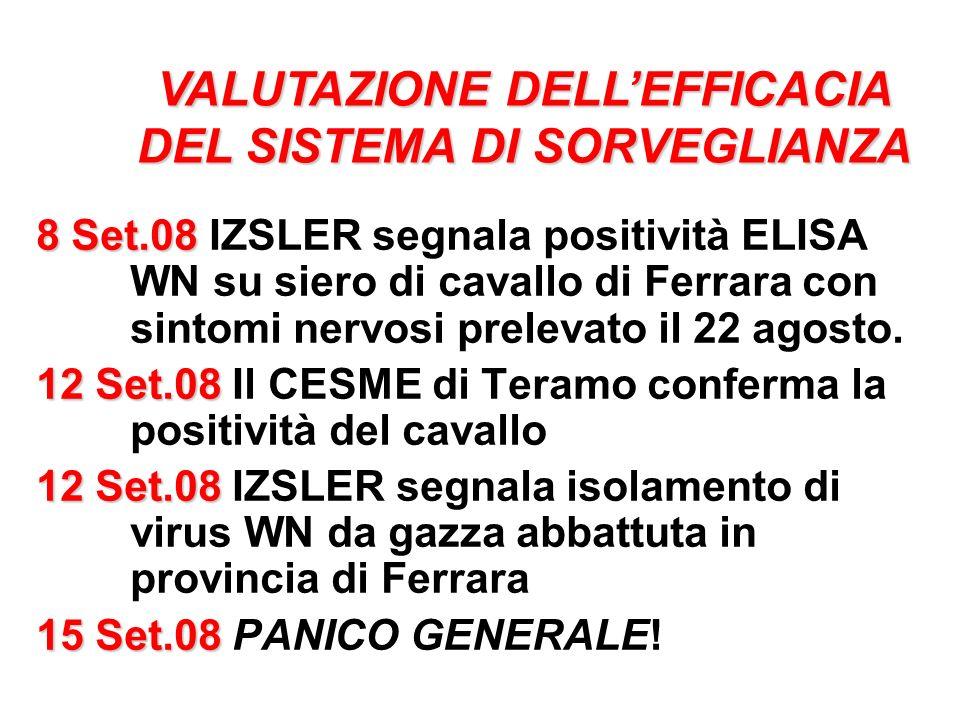 8 Set.08 8 Set.08 IZSLER segnala positività ELISA WN su siero di cavallo di Ferrara con sintomi nervosi prelevato il 22 agosto. 12 Set.08 12 Set.08 Il