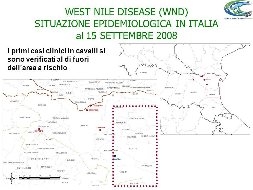 WEST NILE DISEASE (WND) SITUAZIONE EPIDEMIOLOGICA IN ITALIA al 15 SETTEMBRE 2008 I primi casi clinici in cavalli si sono verificati al di fuori dellar