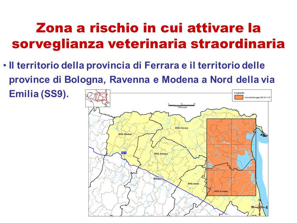 Il territorio della provincia di Ferrara e il territorio delle province di Bologna, Ravenna e Modena a Nord della via Emilia (SS9). Zona a rischio in