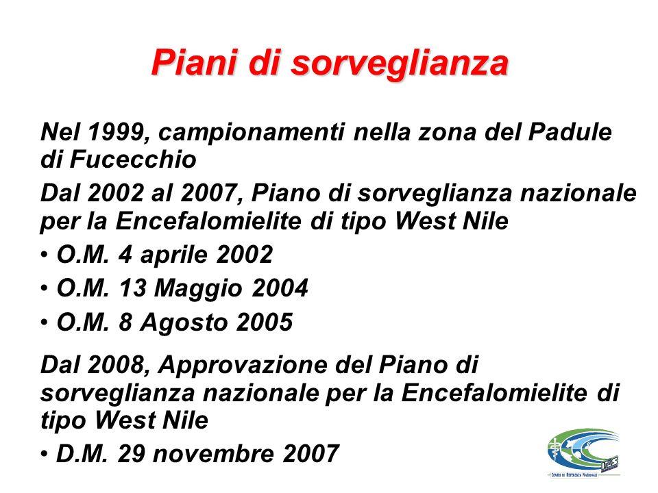 Piani di sorveglianza Nel 1999, campionamenti nella zona del Padule di Fucecchio Dal 2002 al 2007, Piano di sorveglianza nazionale per la Encefalomielite di tipo West Nile O.M.