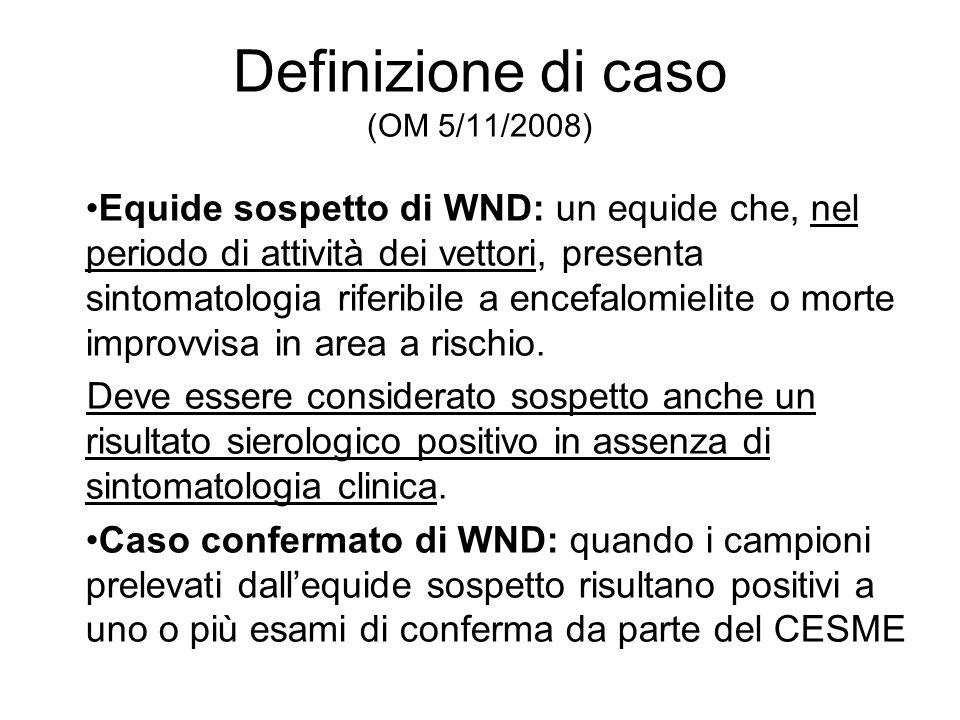 Definizione di caso (OM 5/11/2008) Equide sospetto di WND: un equide che, nel periodo di attività dei vettori, presenta sintomatologia riferibile a encefalomielite o morte improvvisa in area a rischio.