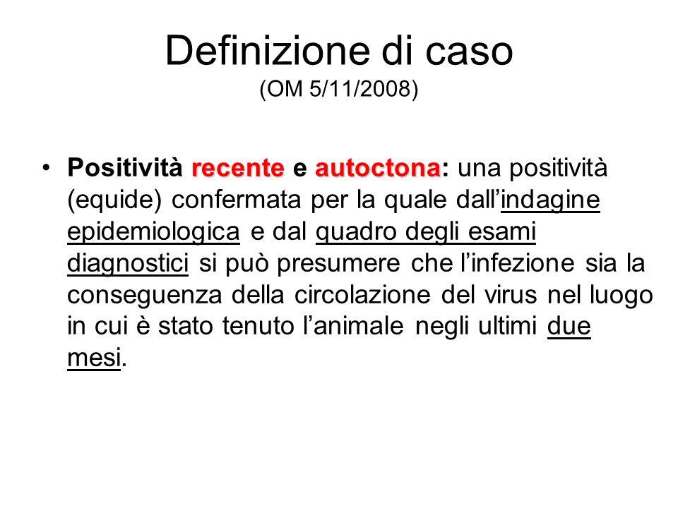 Definizione di caso (OM 5/11/2008) recenteautoctonaPositività recente e autoctona: una positività (equide) confermata per la quale dallindagine epidem