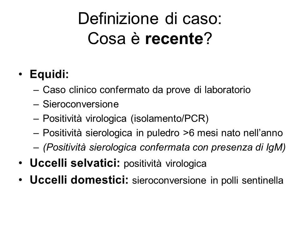 Definizione di caso: Cosa è recente? Equidi: –Caso clinico confermato da prove di laboratorio –Sieroconversione –Positività virologica (isolamento/PCR
