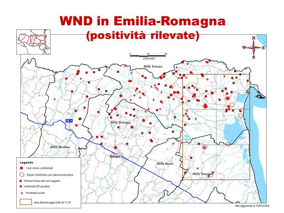 WND in Emilia-Romagna (positività rilevate)
