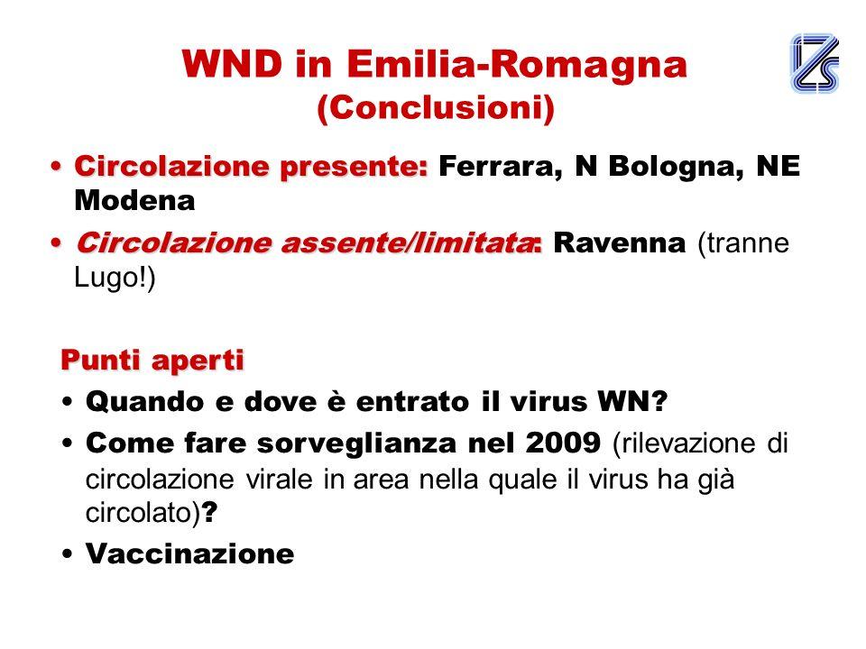 WND in Emilia-Romagna (Conclusioni) Circolazione presente:Circolazione presente: Ferrara, N Bologna, NE Modena Circolazione assente/limitata:Circolazi
