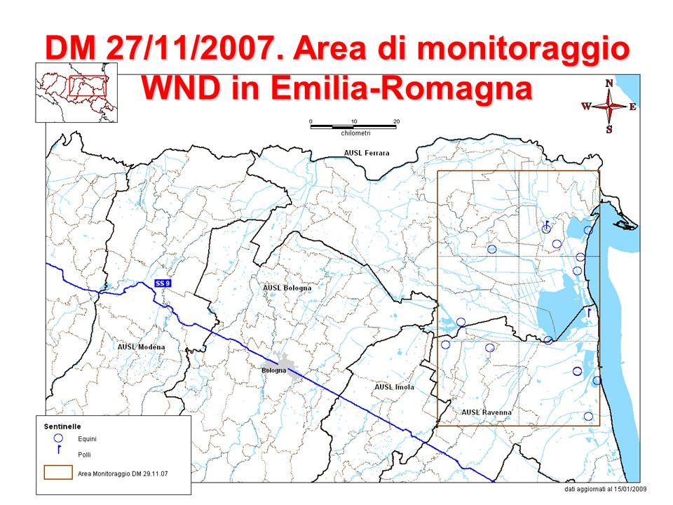 WEST NILE DISEASE (WND) SITUAZIONE EPIDEMIOLOGICA IN ITALIA al 15 SETTEMBRE 2008 I primi casi clinici in cavalli si sono verificati al di fuori dellarea a rischio