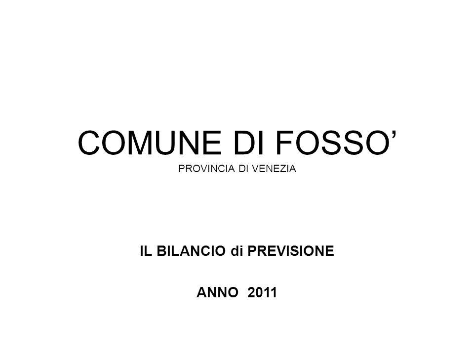COMUNE DI FOSSO PROVINCIA DI VENEZIA IL BILANCIO di PREVISIONE ANNO 2011
