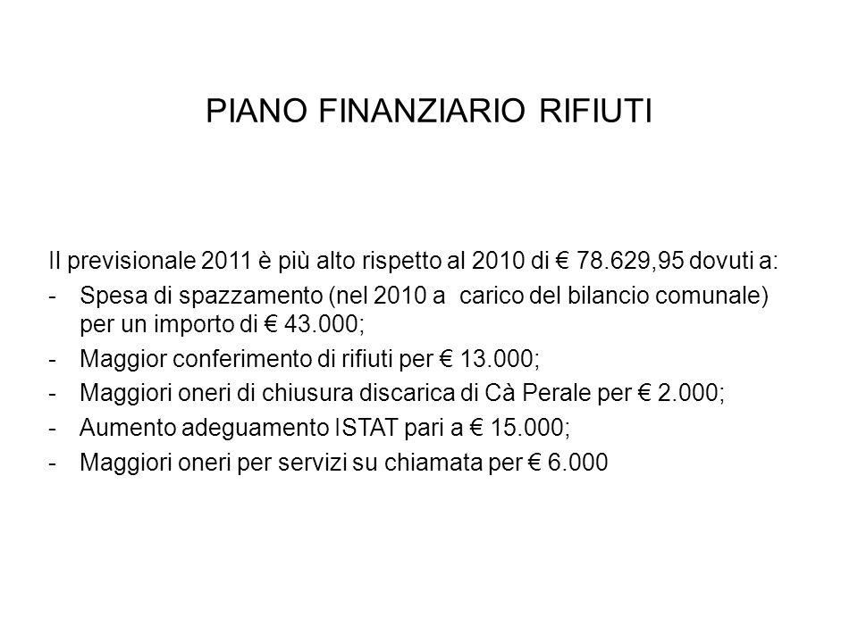 PIANO FINANZIARIO RIFIUTI Il previsionale 2011 è più alto rispetto al 2010 di 78.629,95 dovuti a: -Spesa di spazzamento (nel 2010 a carico del bilancio comunale) per un importo di 43.000; -Maggior conferimento di rifiuti per 13.000; -Maggiori oneri di chiusura discarica di Cà Perale per 2.000; -Aumento adeguamento ISTAT pari a 15.000; -Maggiori oneri per servizi su chiamata per 6.000