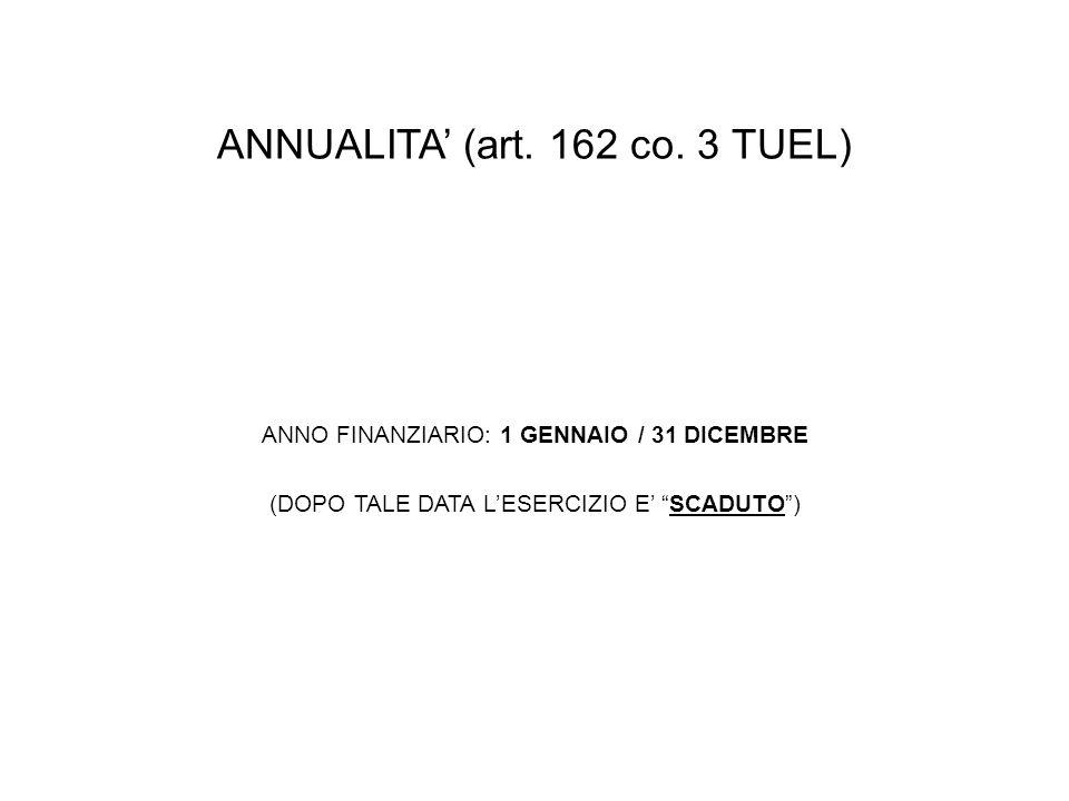 ANNUALITA (art. 162 co. 3 TUEL) ANNO FINANZIARIO: 1 GENNAIO / 31 DICEMBRE (DOPO TALE DATA LESERCIZIO E SCADUTO)