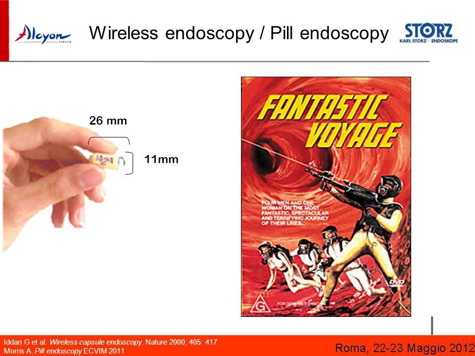 Wireless endoscopy / Pill endoscopy Iddan G et al. Wireless capsule endoscopy. Nature 2000; 405: 417 Morris A. Pill endoscopy ECVIM 2011 11mm 26 mm