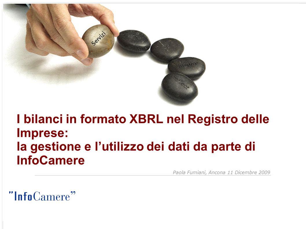 Paola Fumiani, Ancona 11 Dicembre 2009 I bilanci in formato XBRL nel Registro delle Imprese: la gestione e lutilizzo dei dati da parte di InfoCamere