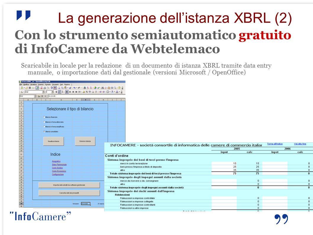 La generazione dellistanza XBRL (2) Con lo strumento semiautomatico gratuito di InfoCamere da Webtelemaco Scaricabile in locale per la redazione di un