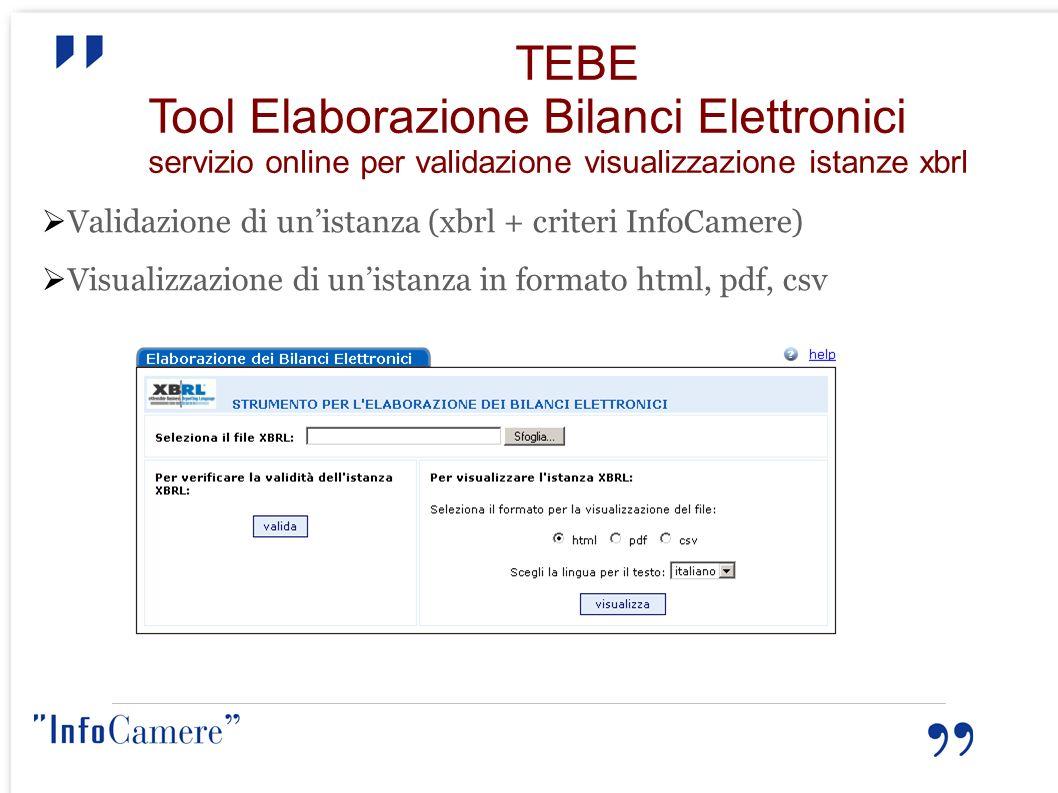 TEBE Tool Elaborazione Bilanci Elettronici servizio online per validazione visualizzazione istanze xbrl Validazione di unistanza (xbrl + criteri InfoC