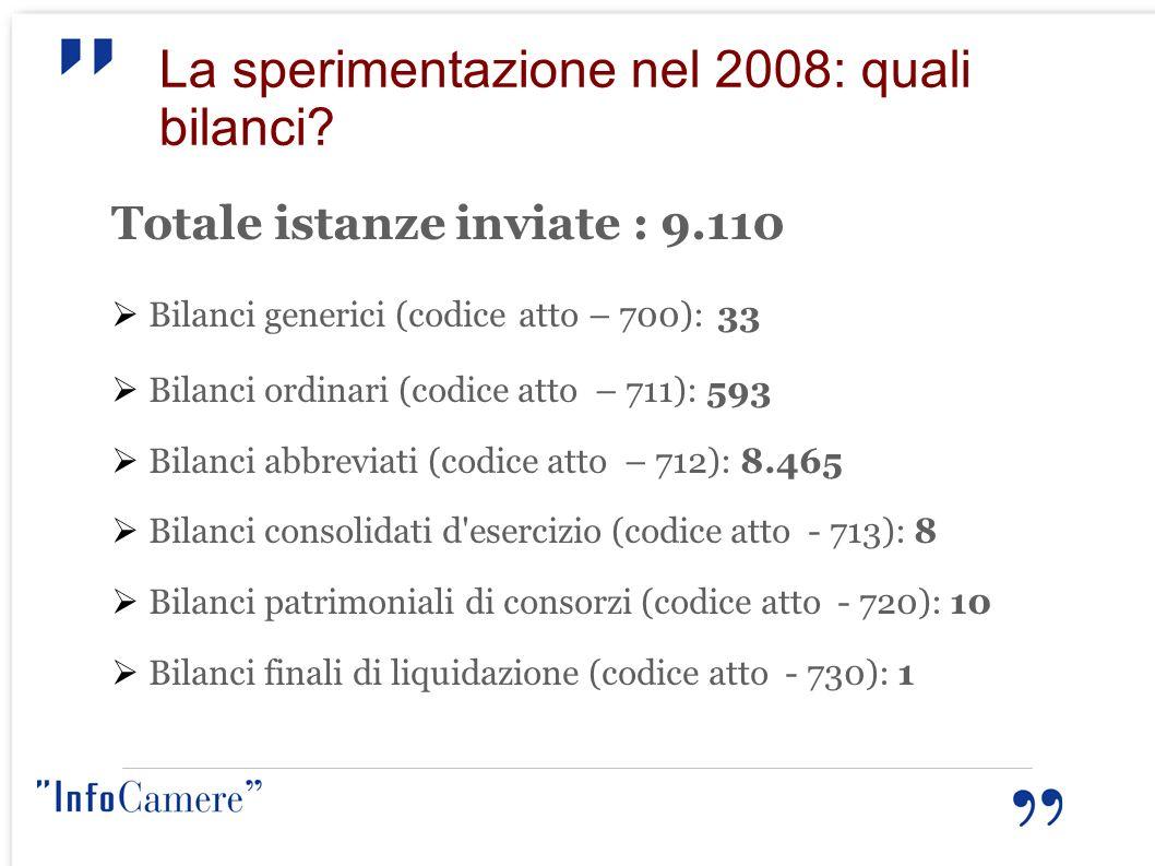 La sperimentazione nel 2008: quali bilanci? Totale istanze inviate : 9.110 Bilanci generici (codice atto – 700): 33 Bilanci ordinari (codice atto – 71