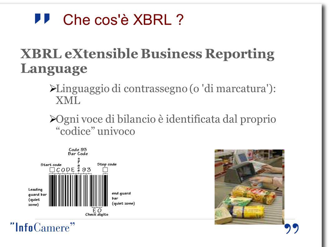 Che cos'è XBRL ? XBRL eXtensible Business Reporting Language Linguaggio di contrassegno (o 'di marcatura'): XML Ogni voce di bilancio è identificata d