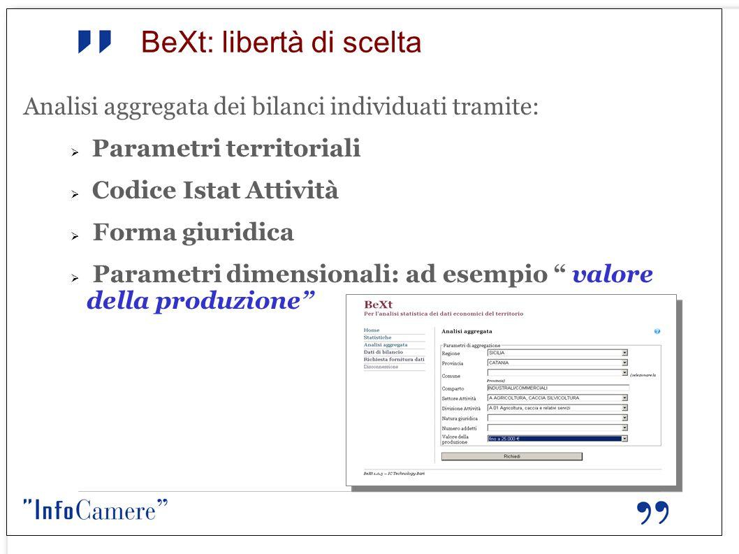 BeXt: libertà di scelta Analisi aggregata dei bilanci individuati tramite: Parametri territoriali Codice Istat Attività Forma giuridica Parametri dime