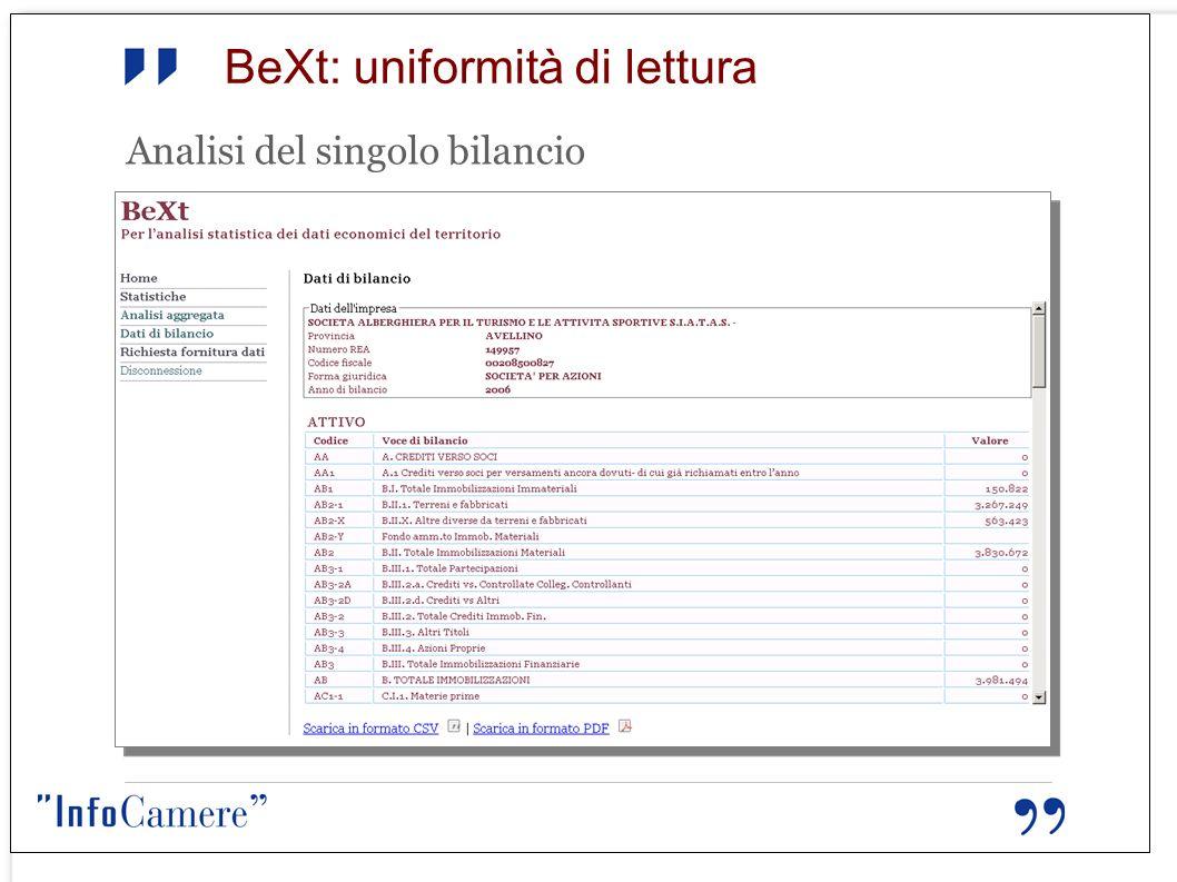BeXt: uniformità di lettura Analisi del singolo bilancio