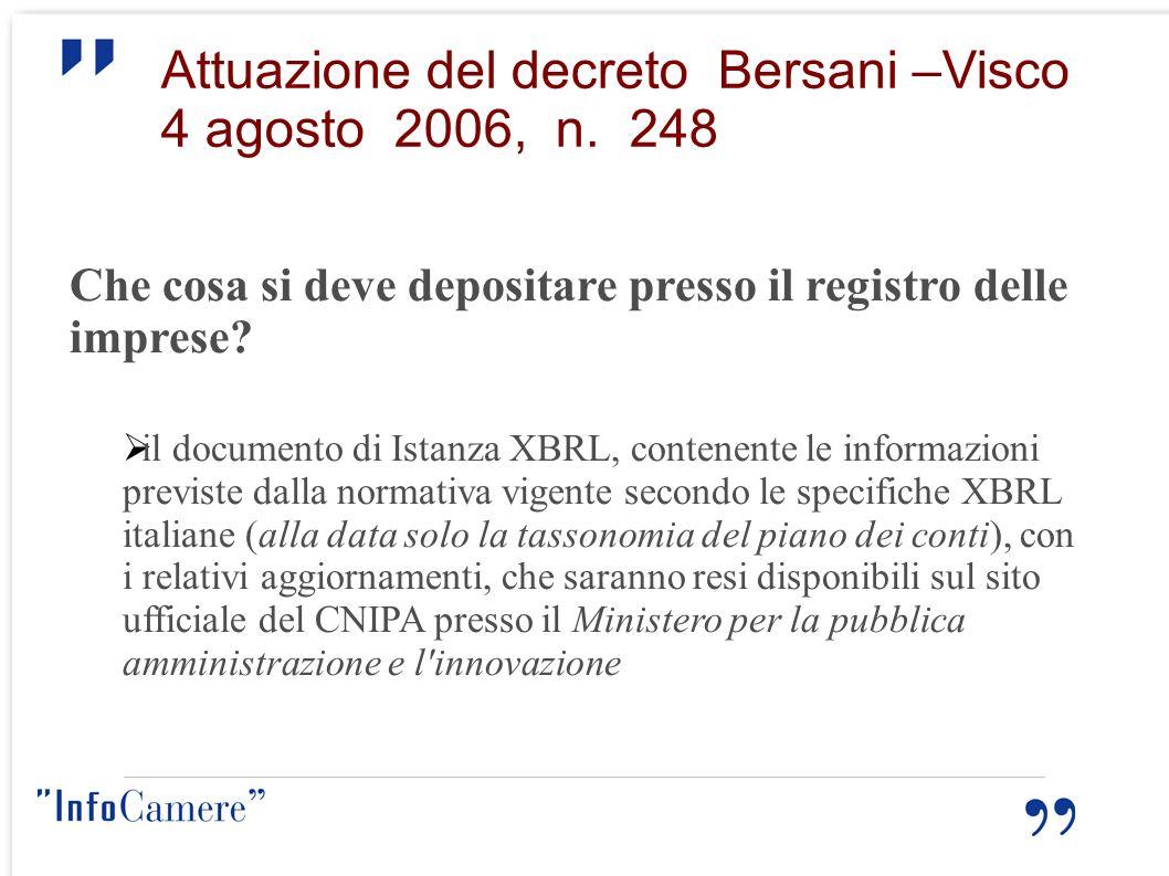 Attuazione del decreto Bersani –Visco 4 agosto 2006, n. 248 Che cosa si deve depositare presso il registro delle imprese? il documento di Istanza XBRL