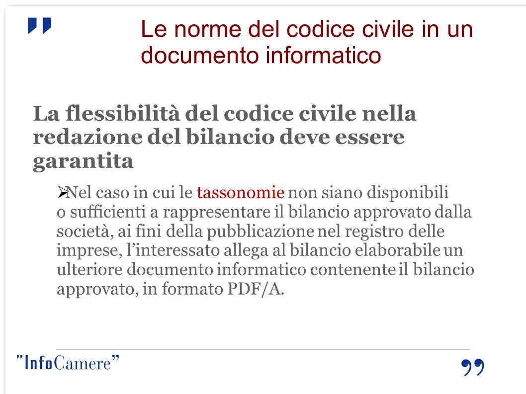 Le norme del codice civile in un documento informatico La flessibilità del codice civile nella redazione del bilancio deve essere garantita Nel caso i