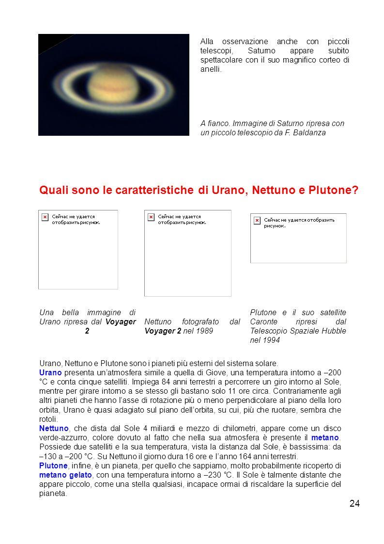 24 Alla osservazione anche con piccoli telescopi, Saturno appare subito spettacolare con il suo magnifico corteo di anelli. A fianco. Immagine di Satu