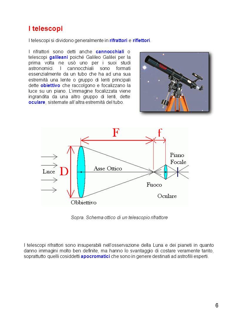 6 I telescopi I telescopi si dividono generalmente in rifrattori e riflettori. I rifrattori sono detti anche cannocchiali o telescopi galileani poiché